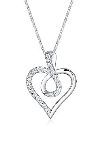 Elli Damen-Kette mit Anhänger Herz Infinity Unendlichkeit 925 Silber Zirkonia weiß Rundschliff 45 cm - 0108433016_45