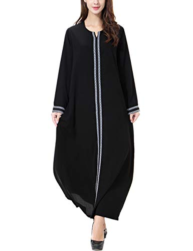 Zhhlaixing Abaya Robes Gown Moroccan Kaftan Caftan Arabic Long Maxi Elegant  Dress Long Sleeve Party Muslim Islamic Dresses for Women Gray