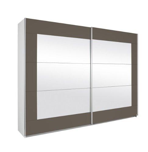 Rauch Schwebetürenschrank mit Spiegel 2-türig, Korpus Weiß Alpin, Front Lavagrau Nachbildung, BxHxT 271x210x62 cm