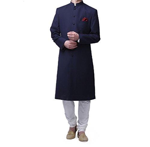 Royal Men's Suiting Kneelong Navy Bandhgala Custom Made Sherwani For Men