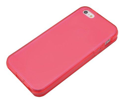 Xcessor Flip Open TU Gel Case Tasche Schutzhülle Für Apple iPhone SE / 5S / 5. Vorder-und Rückseite Schutz. Rosa / Transparent Pink/Red/Transparent