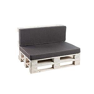 Palettenkissen Sitzkissen, Rückenkissen Schaumkissen glatt PFK (Deko Kissen 40×40, Anthrazit)