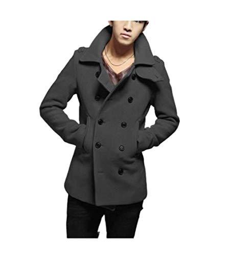 Energy Mens Woolen Fall Winter Double-Breasted Cardigan Fit Duffle Coat Dark Grey M