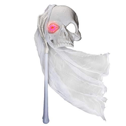 FunPa LED Halloween Maske, Masquerade Skull Mask Neuheit Scary Ghost Bride auf Stick Weiß Halloween Kostüm Cosplay Maske für Frauen Halloween Party Favor (Masquerade Mask Stick)