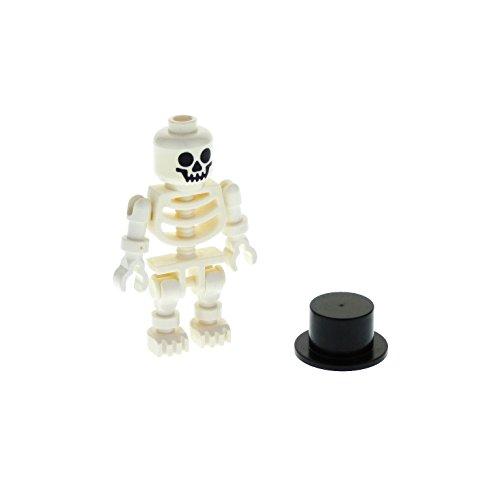 1 x Lego System Figur Skelett weiss Standard Kopf Augen rund Skeleton Zylinder Hut schwarz 3878 6265 6266 6260 3626bpb0001 gen027