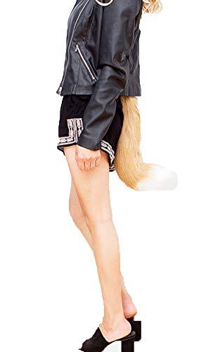 Runyue Halloween Kostüme Kunstpelz Fuchsschwanz Kann Schwanz Eingestellt Werden Zubehör Kamel Weiß ()