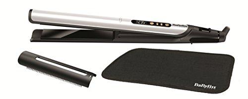 BaByliss ST455E Plancha de pelo Sensitive Edición Especial White&Gold, placas con cerámica negra anodizadas, 3 veces más suaves y duraderas, protección reforzada, iónica, 6 ajustes de 140º C-235º C