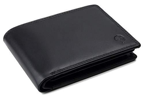 Frentree Geldbörse aus echtem Nappa Leder mit RFID Schutz, 12 Kartenfächern und Münzfach im Querformat, Schwarz - Schwarz Geldbeutel Leder