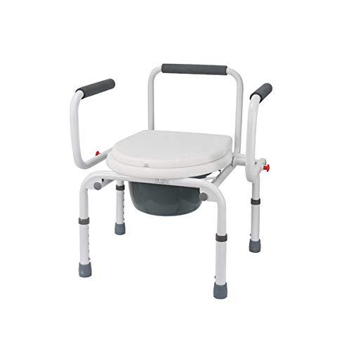 ASGDVJFGSD Höhenverstellbare Kommode Rollstuhl Nachttisch WC & Duschsitz Bad Stuhl Elder Klappstuhl Wasserdicht -
