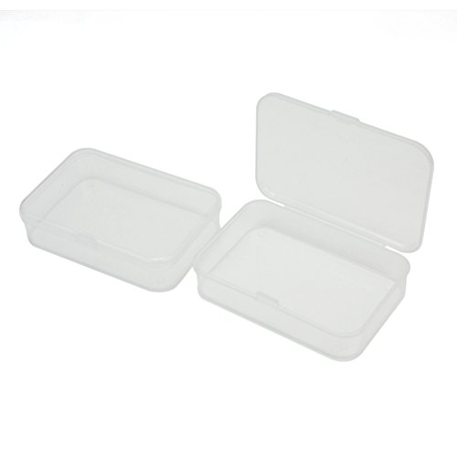Pinzhi2Pcs Plastic Transparent Clear Storage Box Collection Container Case with Lid 8.8*6*2cm