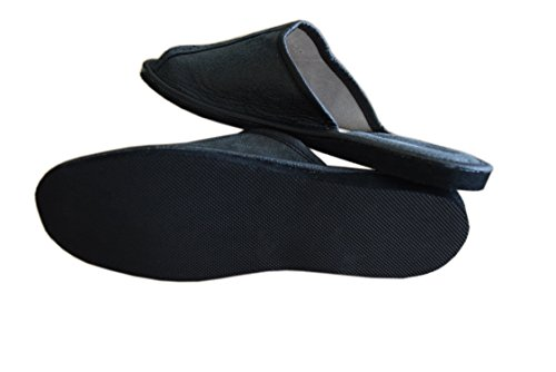 Natleat SlippersNatural Leather Mens Slippers - Sandali con Zeppa Ragazzi uomo Black / 2