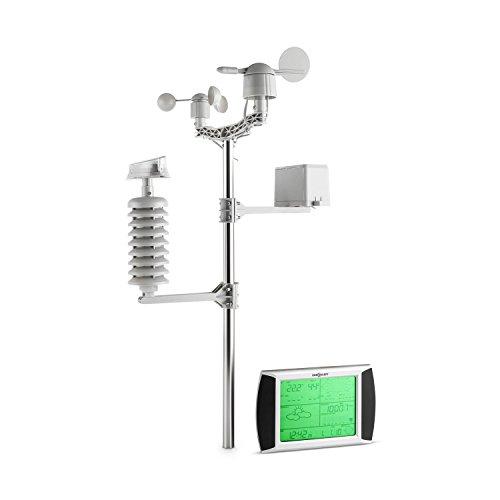 oneConcept Beaufort • Wetterstation • Funk-Wetterstation • 4 Sensoren • Anzeige Niederschlagsmenge • Temperaturmessung • Luftfeuchtigkeitsmessung • Windrichtung- und Geschwindigkeitsmessung • LCD-Touch-Display • Witterungsalarm • Solarpanel • silber