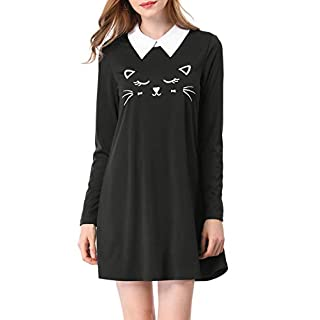 Allegra K Women's Summer Loose Cat Face Animal Print Contrast Collar Flare Swing Dress Black XL