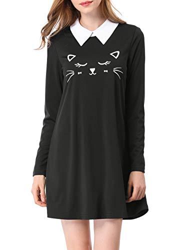 Allegra K Vestido por Encima De La Rodilla Collar De Contraste Dobladillo De Llamarada Estampado De Cara del Gato - Negro/L (US 14), L (EU 44)