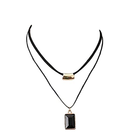 WTING Necklace Women Double leather cube with square gemstone chain , black