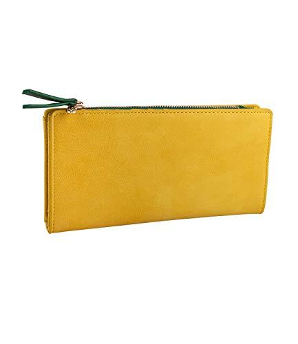 SIX Damen Geldbörse, Portemonnaie in senfgelb mit grüner Innentasche, goldene Details, Ananas als Verschluss, viele Fächer (Piraten Geldbörse Herz)