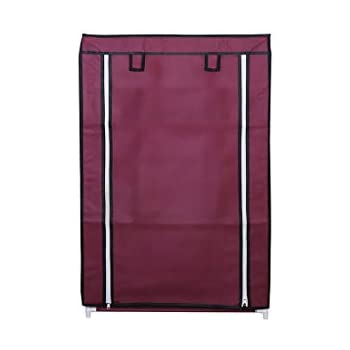 RMA HANDICRAFTS Shoe Rack with Cover 3 Layers (Maroon)