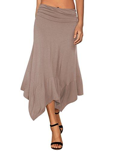 DJT Damen Elastische Taille Einfarbig Ausgestelltes A-Linie Faltenrock Koffee S (Frauen Trikot Kleid Form)