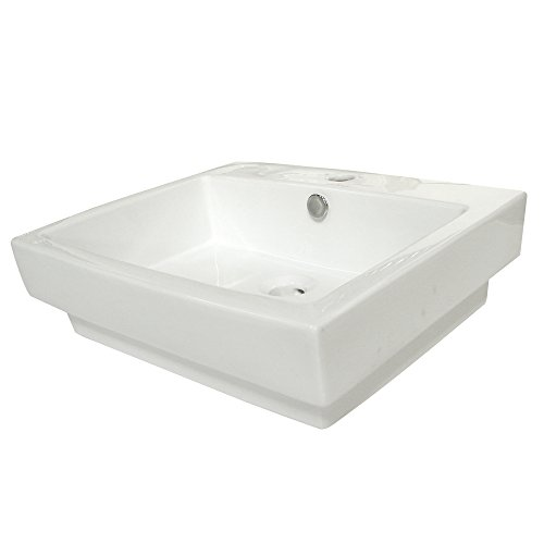 Kingston Brass Plaza White China Vessel Bathroom Sink with Overflow Hole & Faucet Hole