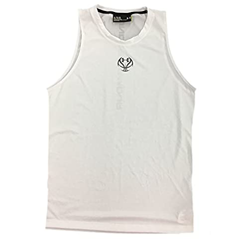 Under Armour Men's UA Tech Fitted Logo Basketball Tank Team White/Graphite X-Large