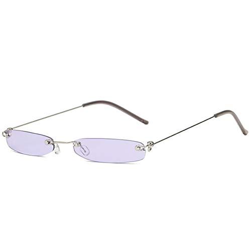 Kjwsbb Frauen kleine Sonnenbrille männer kleine schmale Sonnenbrille Retro rechteck weibliche randlose Ultraleicht Eyewear Frauen