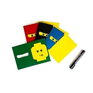 IPE 12 Ninja Einladungskarten Set zum Selber-Basteln inkl. Umschläge | Kinder-Geburtstag Jungen | 250g Karton | Made In Germany