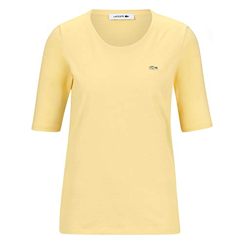 Lacoste TF5621 Damen T-Shirt Rundhals,Frauen Basic Tshirt,Tee,Regular Fit,NAPOLITAN Yellow(6XP),46