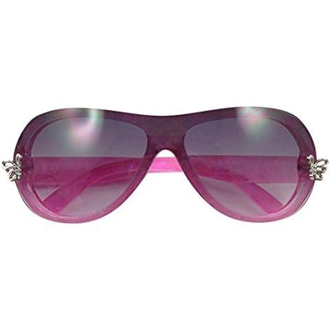 Ultra ® Rosa de cristal color rosa niñas gafas de sol brillante marco con dos placas de plata mariposa delantera capa perla para la lente de marco humo