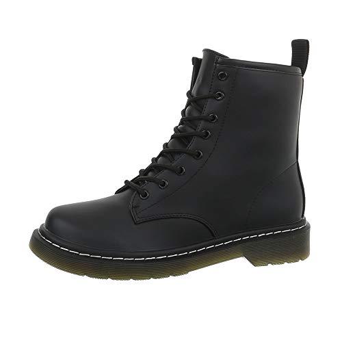 Ital-Design Damenschuhe Stiefeletten Schnürstiefeletten Synthetik Schwarz Gr. 37 Snake Boots