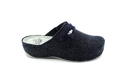 Grunland PRUA CI1445 blau Hausschuhe Frau Komfort Tuch Pompon Perlen 41