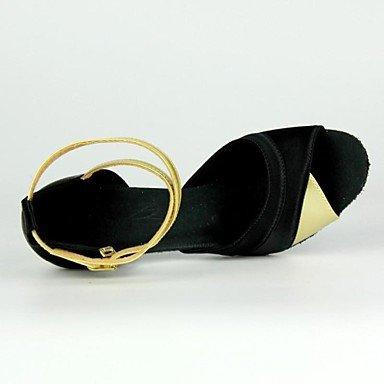Scarpe da ballo - Disponibile su misura - Donna - Latinoamericano / Salsa - Customized Heel - Satin - Argento / Oro golden