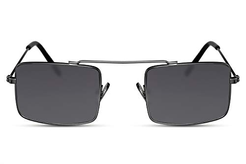Cheapass Sonnenbrille Recht-Eckig Schwarz Designer-Brille Klein Retro Metall Damen Herren