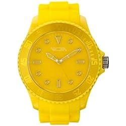 Vega Unisex Quartz Watch with Yellow Dial Analogue Display and Yellow Silicone Strap VEGWATYEL