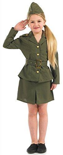 Mädchen 2. Weltkrieg ersten Weltkrieges Army Military Streitkräfte Uniform Buch Tag Fancy Kleid Kostüm Outfit Gr. Einheitsgröße, Grün - (Weltkrieg 2 Outfits)