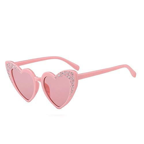 MOJINGYAN Sonnenbrillen,Kinder Strass Sonnenbrille Baby Herzförmige Sonnenbrille Kids Fashion Liebe Eyewear Geschenk Für Kinder Niedliche Herzen Brille Rosa