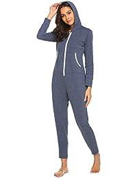 f31e5107a5c435 Pyjama Schlafoverall Jumpsuit Langarm Damen Oberteil Nachtwäsche Herbst  Schlafanzug Baumwolle