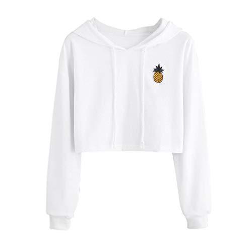Sweatshirt Damen SUNNSEAN Frauen Weiß Drucken Pullover Kurz Hoodie Stilvolle Kleidung Oberteile Mit...