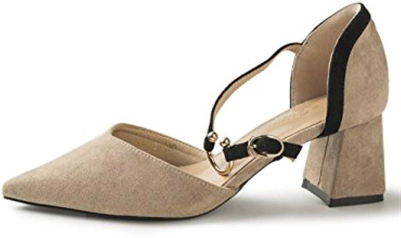 MeiMei Sandalias Zapatos High-Heel Flat-Tipped Temperamento Femenino A La Luz De La Audaz Y Cabezal Hembra
