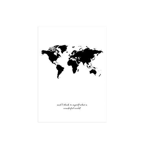 AchidistviQ Nordischen Stil schwarz-weiß Brief Kern wohnkultur malerei rahmenlose malerei Leinwand Weltkarte Machen Bild Kunst Poster Wand Büro Wohnzimmer Dekor 30 * 40cma