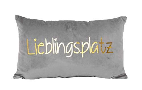 PremiumShop321 Dekokissen Kuschelkissen Lieblingsplatz grau/Gold Samt-Optik 30x50 cm Kissen incl. Füllung
