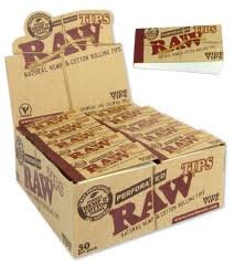 RAW NATURAL HEMP & COTTON ROLLING WIDE TIPS(PACK OF 50TIPS) FULL SEALED BOX