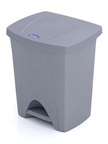 Plastiken - Cubo Basura con Pedal - Color Plata - 30 L