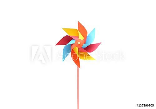 druck-shop24 Wunschmotiv: Toy Windmill Propeller Set with Multicolored Blades Isolated on White #137390705 - Bild als Klebe-Folie - 3:2-60 x 40 cm / 40 x 60 cm - Matt White Blade Set
