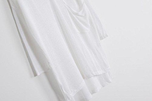 Smile YKK Sarrau Uni Trensparent Manteau Lin Tops Manches Bat de Soleil Femme Blanc