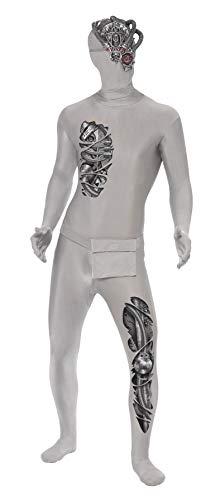 nd Skin Roboter Kostüm, Ganzkörperanzug und Bauchtasche, Größe: M, 38876 ()