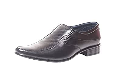 Leeport Black Synthetic Leather Party Wear Shoes for Men