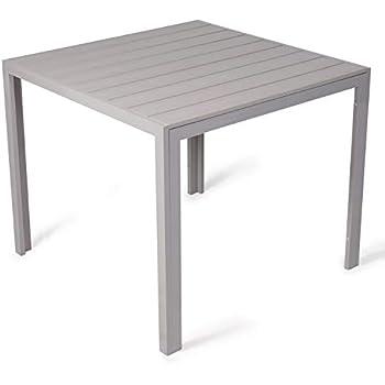 Vanage - Table de Jardin en aluminium - Modèle Helsinki - Avec cadre en  aluminium - Dimensions env. 90 x 90 cm - Pour 4 Personnes - Design classe  et ...