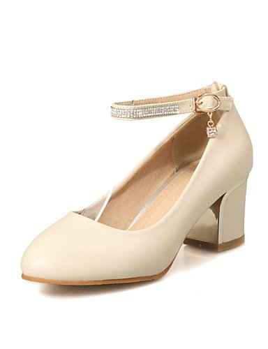 WSS 2016 Chaussures Femme-Bureau & Travail / Décontracté-Noir / Rose / Blanc / Beige-Gros Talon-Talons / Confort / Bout Arrondi-Talons-Laine beige-us9 / eu40 / uk7 / cn41