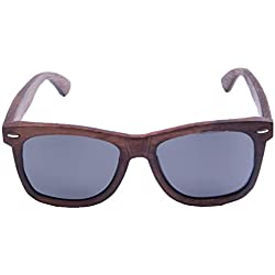 LY4U marco de bambú lleno polarizado para hombre y para mujer de bambú Gafas de sol revestidas de madera clásico, gafas vintage, gafas de sol flotantes con caja de bambú (Gris Nuevo)