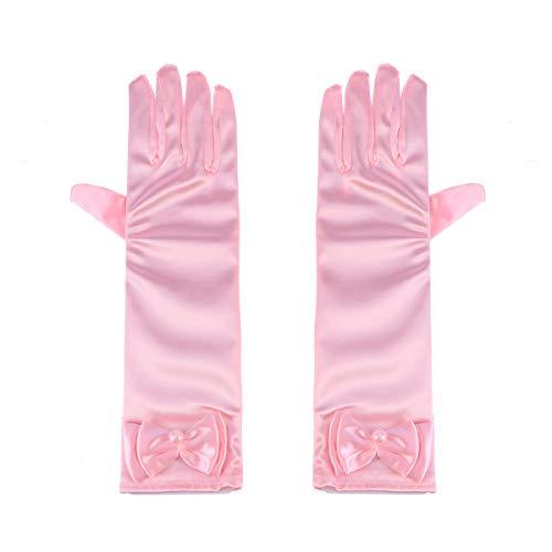 Toyvian 1 Paar Blumenmädchen Kinder Satin Handschuhe mit Schleife für Prinzessin Kostüm Zubehör Hochzeit Party Bankett (Rosa)
